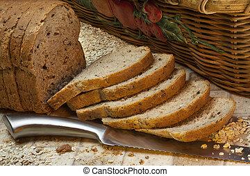 Whole Grain Bread - Slices of whole grain farmhouse bread