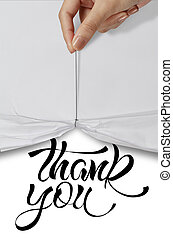business hand pull rope open wrinkled paper show THANK YOU...