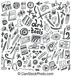 art tools - doodles set - art tools- set vector icons in...