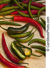 Chili peppers - Red and Green Chili Peppers. Chili are small...