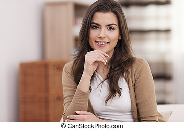 Portrait of gorgeous woman at home