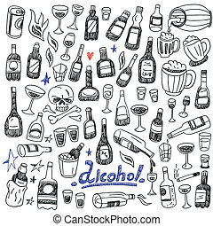 Doodle Bottles,Alcohol - set icons in sketch style