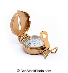 Brass compass over a white background
