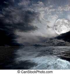 The sea by night - Image of a sea by night with the full...