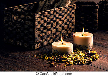 Dry flowers petals and candles - Dry yellow flowers petals...