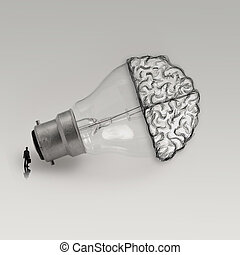 Light bulb with hand drawn brain as creative idea concept -...