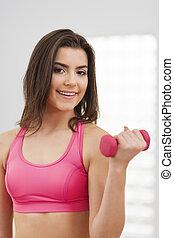 fitness, utbildning, Hantlar, ung, kvinna