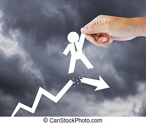 Leadership concept - Leader helping a businessman from...