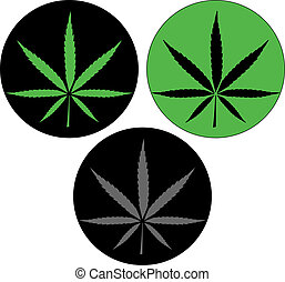 Cannabis leaf icon button vector