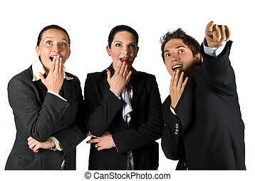 Wow!Look there! - Group of three business people with...