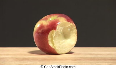 Stock Footage of and Apple being Eaten - Time lapse of an...