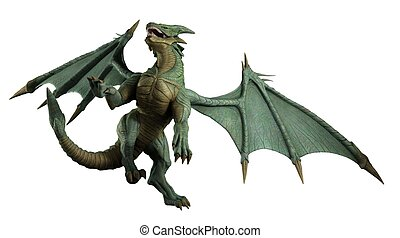 Large Green Dragon - turning - Large green dragon turning in...