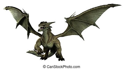 Large Green Dragon - Large green dragon, 3d digitally...
