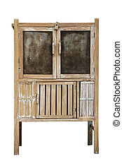 old wooden pantry on white background