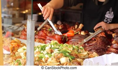 Warm Delicious Meal - Appetizing hot pieces of chicken, pork...