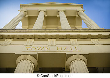 Grand town hall - Majestic columns on local government...