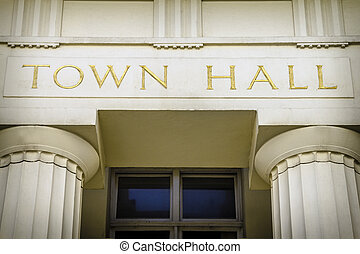 Town hall - Large gold lettering on exterior of local...