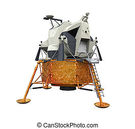 Apollo Lunar Module isolated on white background 3D render