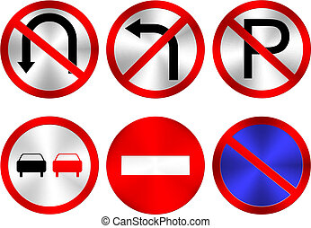 Traffic Signs - Six Vector Traffic Signs on White Background