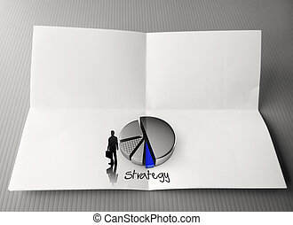 hand drawing business strategy word and 3d pie chart icon...