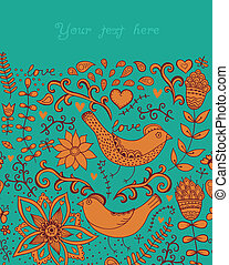 Card with flowers and butterflies,
