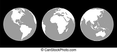 Globes Greyscale - Grey scale illustration of the earth from...