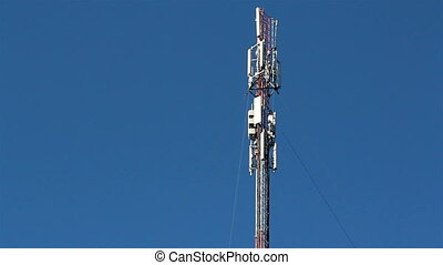 Top of the mobile tower - Top of the steel mobile tower used...