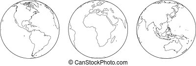 Globes Outline - Outline illustration of the earth from...