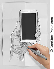 Hand drawn hands with mobile phone as concept - Hand drawn...