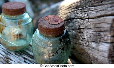 Some wooden blocks with jars - Some wooden blocks from a...