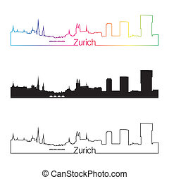Zurich skyline linear style with rainbow in editable vector...