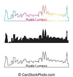 Kuala Lumpur skyline linear style with rainbow in editable...