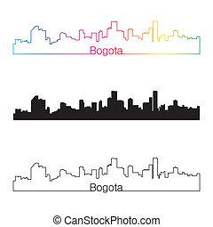 Bogota skyline linear style with rainbow in editable vector...