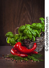 Red peppers with fresh green seasoning