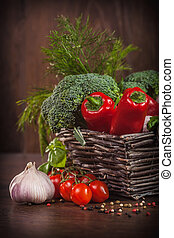 cesta, cru, legumes, vime