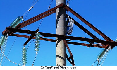 Cable wires on the power post - Cable wires hanging on the...