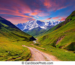 Colorful summer sunrise in the high mountains