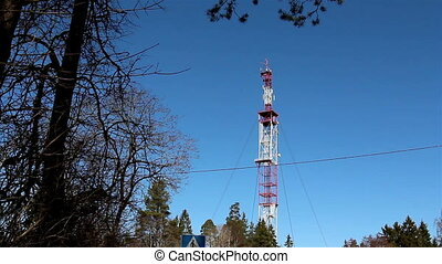 GSM mobile tower at the middle of the forest - GSM mobile...