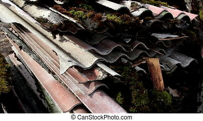 Rusty old roof slate - Many rusty old roof slate abandoned...