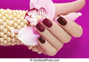 Two-tone manicure. - Two-tone manicure from light and dark...