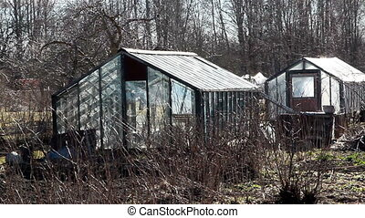 Lots of greenhouse for agriculture located on the field with...