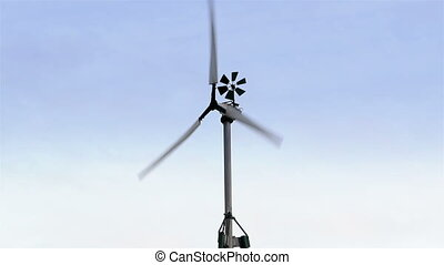 The turning wind turbine with anemometer on it