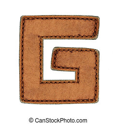 Leather alphabet isolate on white