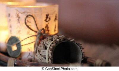 Two candles wrapped in chinese paper