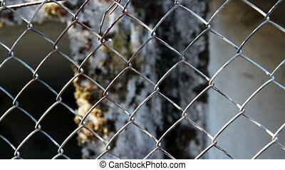 Closer look of a metal fence