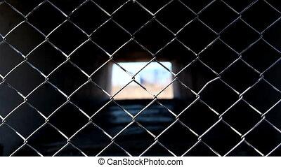 The diamond shape metal wire fence