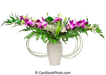 Bouquet of flowers with orchids in a vase