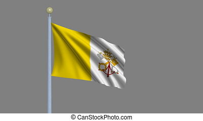 Flag of Vatican City waving in the wind with flagpole - very...