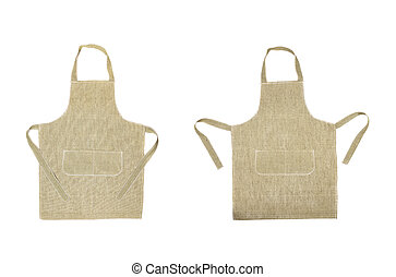 Two kitchen gray aprons. Front view. Isolated on a white...