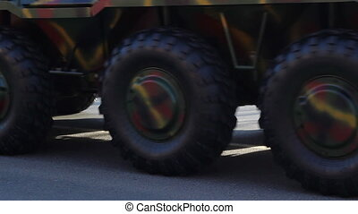 Military Vehicles Wheels - Big wheels of a military vehiclem...